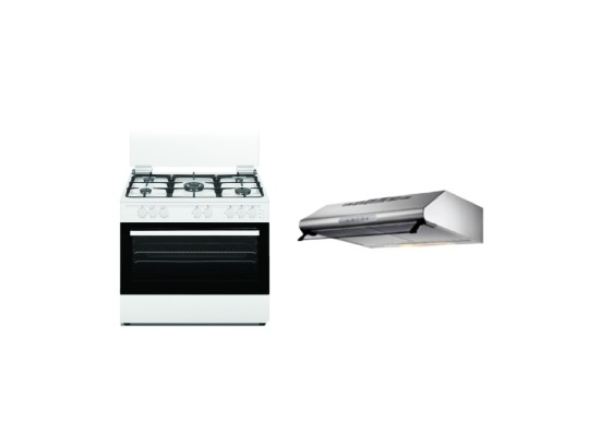 Wansa 90x60cm 5 Burners Free Standing Gas Cooker (WCT9502124W) – White + Lagermania 90cm Under-Cabinet Cooker Hood