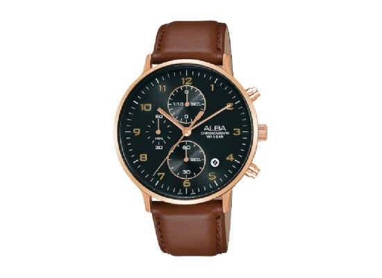 Alba 40mm Chronograph Gents Leather Casual Watch (AM3686X1)