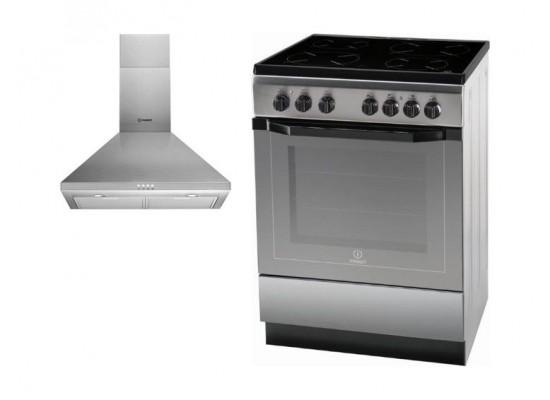 Indesit 60x60cm 4-Burners Free Standing Electric Cooker + Indesit 60cm Chimney Type Cooker Hood