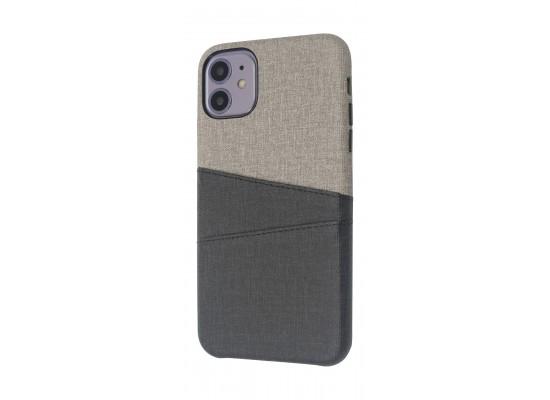 EQ iPhone 11 Blank Pocket Back Case - Grey/Black