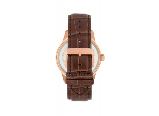 Jean Bellecour 42mm Analog Gents Leather Watch (JB1043) - Brown