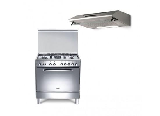 Wansa 80x50 cm 5-Burner Floor Standing Gas Cooker + Lagermania 80cm Undercabinet Cooker Hood