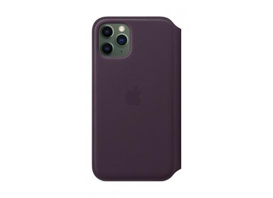 Apple iPhone 11 Pro Leather Folio Case - Aubergine