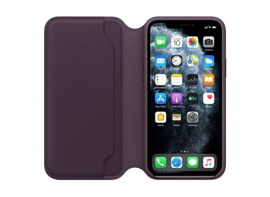 Apple iPhone 11 Pro Leather Folio Case - Aubergine 3