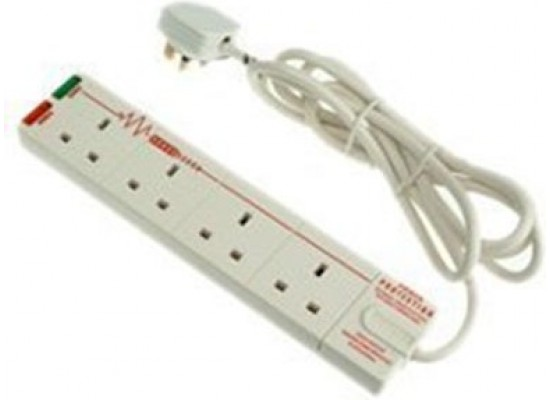 Masterplug 4-Way Surge Protected Power Socket with 2m Extension Lead - White