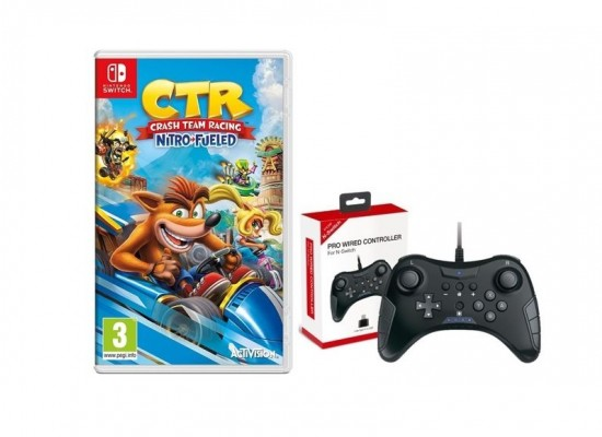 Crash Team Racing Nitro-Fueled + Dobe Nintendo Switch Pro-Wired Controller