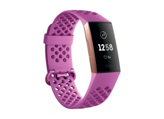 Fitbit Charge 3 Fitness Tracker Berry Rose Gold 1