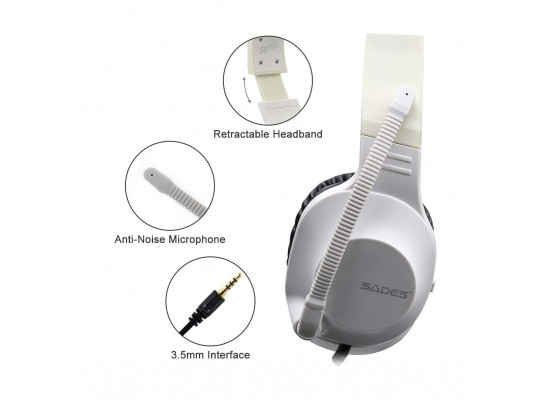 Sades Spirits Wired Gaming Headset - White 3