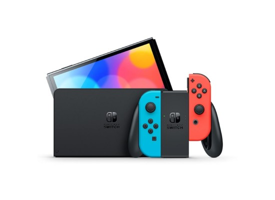 Nintendo Switch OLED gaming Console with Neon Blue and Red joy-con