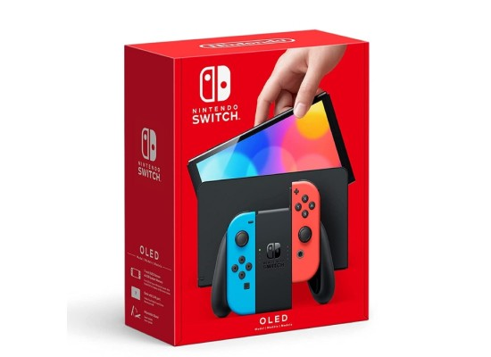 Nintendo Switch OLED gaming Console with Neon Blue and Red joy-con controllers in the box