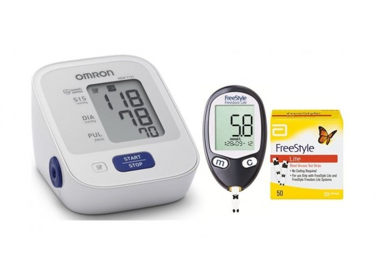 Omron Blood Pressure Monitor HEM-7121 + Strips + Glucose Monitor