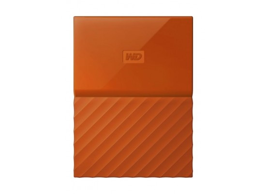 WD 4TB My Passport USB 3.0 Secure Portable Hard Drive, Orange  Front View