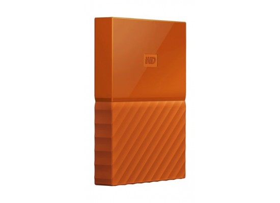 WD 4TB My Passport USB 3.0 Secure Portable Hard Drive, Orange Side View 2