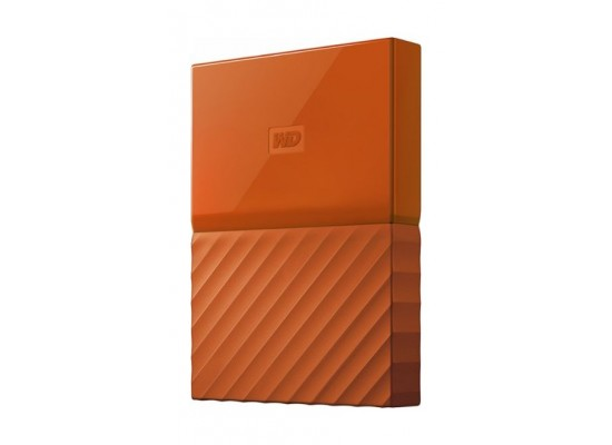 WD 4TB My Passport USB 3.0 Secure Portable Hard Drive, Orange Side View 1