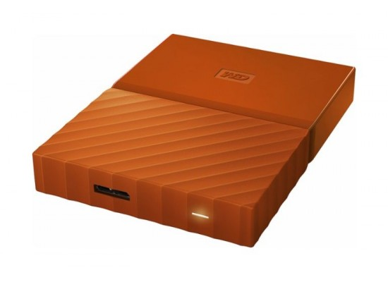 WD 4TB My Passport USB 3.0 Secure Portable Hard Drive, Orange  Top View