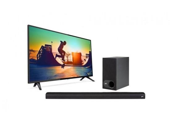 Philips 55-inch Ultra HD Smart LED TV + Polk Audio Signa 2 Wireless Soundbar