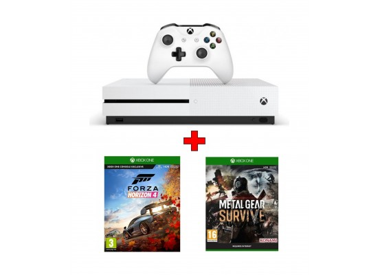 Xbox One S 1TB Gaming Console + Forza Horizon 4 Game + Metal Gear Survive:  Xbox One Game (PAL)