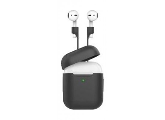 Promate Protective Case and Strap Kit for Airpods - Black