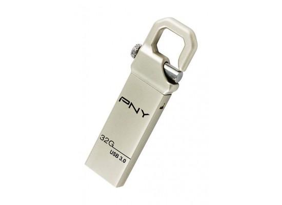 PNY Hook Attache 32GB High Speed USB 3.0 Flash Drive - Silver