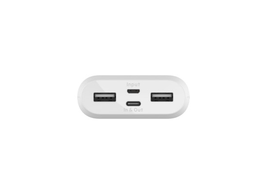 Belkin Boost Charge 10K Power Bank with 15W USB-C IN/OUT- Dual USB-A OUT - MicroUSB IN - White