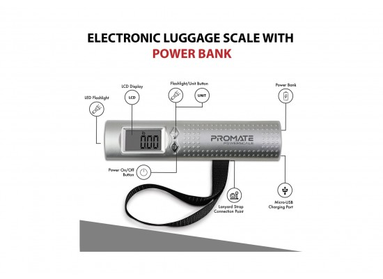 Promate 3N1 50KG Luggage Power Scale - Silver