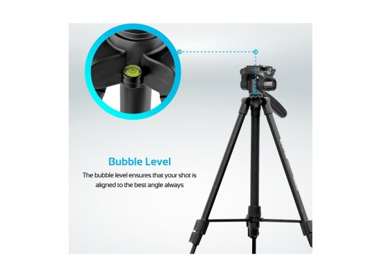 Promate Camera Tripod Stand 140cm with 3 Section Extendable Aluminum For DSLR, SLR, Camcorder, Action Cameras (Precise-140)