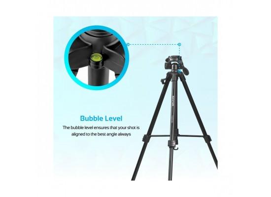 Promate Aluminium Camera Tripod 150cm with 3 Way Head For DSLR, SLR, Camcorder, Action Cameras (Precise-150)