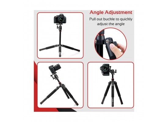 Promate Tripod Monopod With Professional 5 Section & 360 Degree For Smartphones, Canon, Nikon, DSLR, Camcorder (Precise-155)