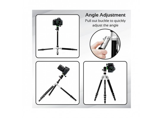 Promate Tripod Monopod With 5 Section & 360 Degree For Smartphones, Canon, Nikon, DSLR, Camcorder (Precise-160)