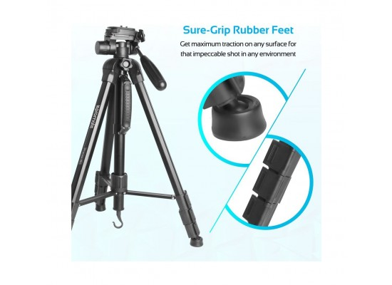 Promate Camera Tripod With Convertible Monopod, 360 Degree Head & 4 Section For All Cameras and Smartphones(Precise-180)