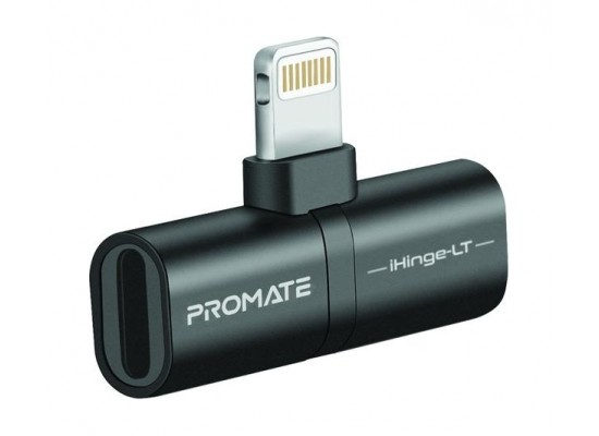 Promate iHinge-LT 2-in-1 Audio & Charging Adaptor with Lightning Connector - Black