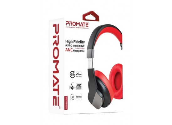 Promate TrueBeatsOn-Ear Wireless ANC Headphone - Red