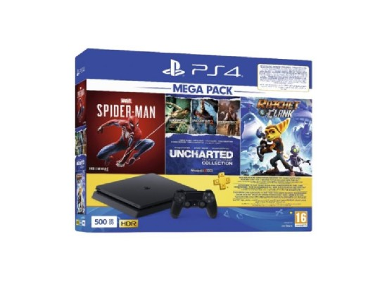 PlayStation 4 Slim 500GB Mega Pack Bundle With 3 Games (Spider Man + Uncharted 1/2/3 Collections + Ratchet & Clank)