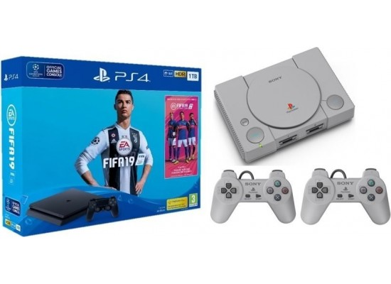 Sony PS4 Slim 1TB + FIFA 19 Standard Edition + FIFA 19 Ultimate Team DLC +  PSN 14 Days + PlayStation Classic Console With 20 Pre Loaded Games