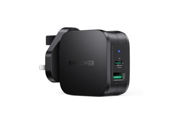 RAVPower PD Pioneer 30W 2-Port Wall Charger UK (RP-PC144) - Black