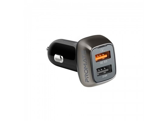 Promate Dual USB Ports Car Charger (Scud-30) - Black