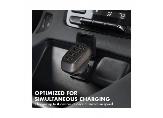 Promate 48W Fast Charging 4-Port Rapid USB Car Charger (Scud-48)