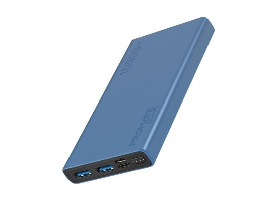 Promate Bolt-10 10000mAh Compact Smart Charging Power Bank - Blue