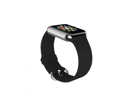 Promate Silica Contoured Silicone Band For 42mm Apple Watch - Black