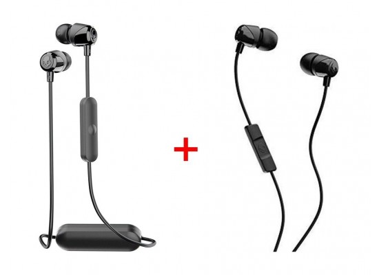 0fe2e0e6a50 Skullcandy JIB Wireless Bluetooth Earphone + Skullcandy JIB Wired Earphone  – Black
