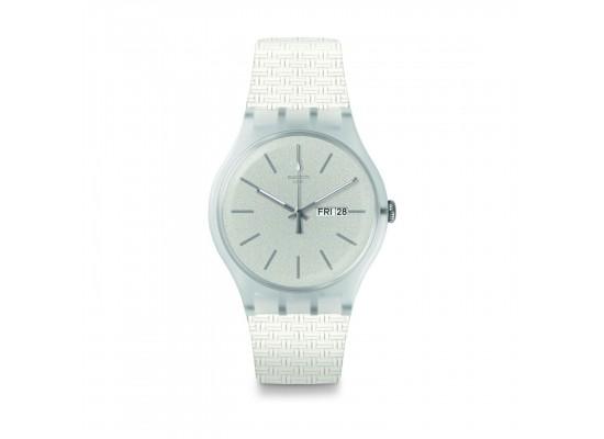 Swatch Bricablanc Quartz Analog 41mm Unisex Rubber Watch (SUOW710)