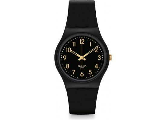 Swatch 34mm Analog Unisex Rubber Watch (SWAGB274) - Black