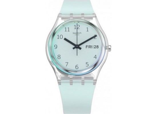 Swatch 34mm Analog Unisex Rubber Watch (SWAGE713) - Blue