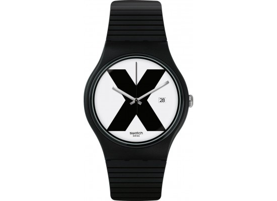 Swatch 41mm X-Rated Unisex Analog Unisex Rubber Watch (SWASUOB402) - Black