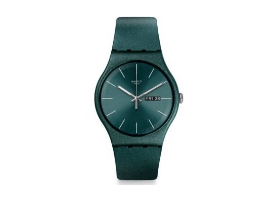 Swatch 41 mm Unisex Analogue Rubber Watch (SWASUOG709) - Green