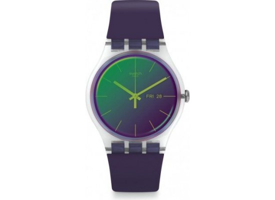 Swatch 41mm Analog Unisex Rubber Watch (SWASUOK712) - Purple