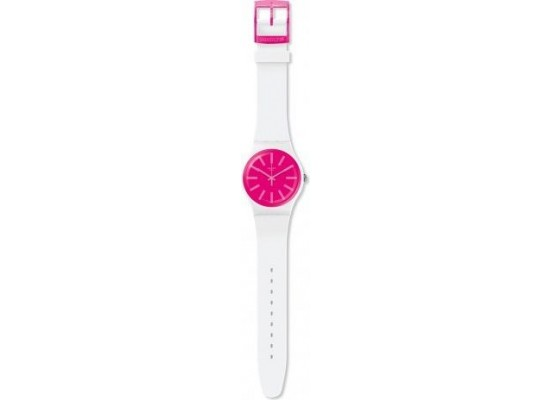 Swatch 41mm Analog Unisex Rubber Watch (SWASUOW162) - White