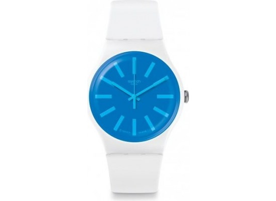 Swatch 41mm Analog Unisex Rubber Watch (SWASUOW163) - White