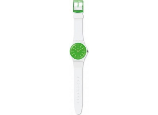 Swatch 41mm Analog Unisex Rubber Watch (SWASUOW166) - White