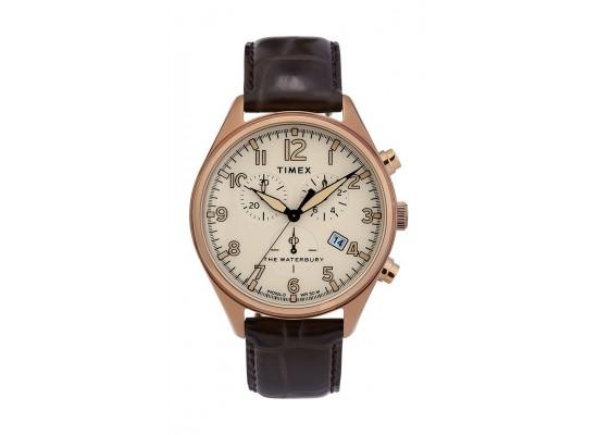 37eb50b98 Timex Waterbury Traditional Chronograph 42mm Leather Strap Watch  (TW2R88300) - Dark Brown